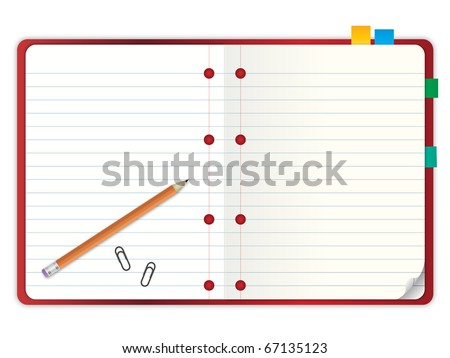 red cover blank notebook with grid line paper open two pages with pencil and stationary vector illustration