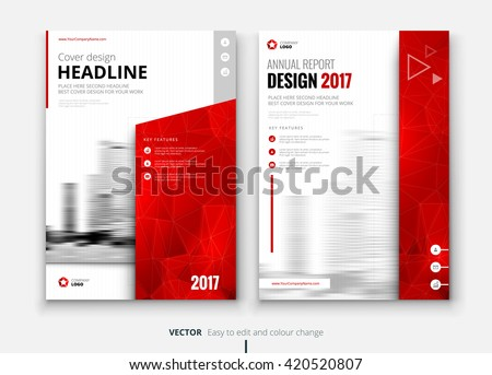 Red Cover design for Annual Report, Catalog or Magazine, Book or Brochure, Booklet or flyer. Layout template in A4 with triangular elements. Creative concept in bright colors. Vector Illustration