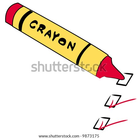 red crayon with to do boxes checked - vector