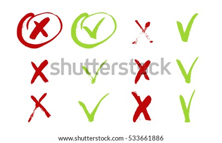 Red cross and green tick grunge set for web sites. Right and Wrong signs isolated on white background vector hand drawn ink illustration. Yes and No symbols