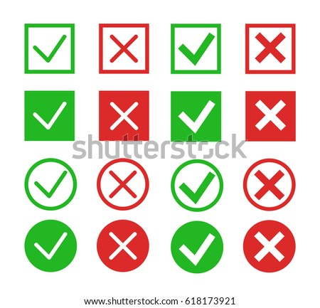 Red cross and green tick vector set. Yes and No icons for websites and applications. Right and Wrong signs isolated on white background. Mark X and V in a flat style. - stock vector