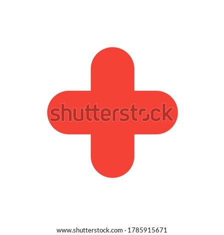 red cross basic simple shapes isolated on white background, geometric cross icon, 2d shape symbol cross, clip art geometric cross shape for kids learning