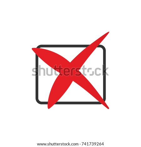 Red cross icon in the checkbox. Decline sign flat illustration