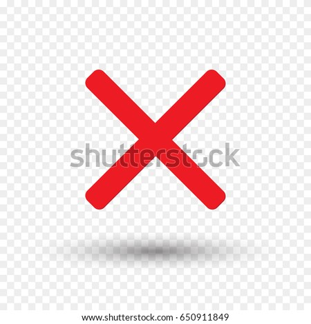Red cross icon isolated on transparent background. Symbol No or X button for correct, vote, check, not approved, error, wrong and failed decision. Vector stop sign or mark graphic element for design.