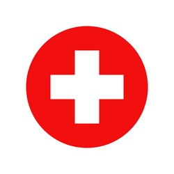Red cross. Vector isolated icon. Medicine health hospital sign symbol. Vector abstract graphic design. Emergency medicine. First aid. Health care. EPS 10