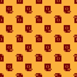 Red CSS file document. Download css button icon isolated seamless pattern on brown background. CSS file symbol.  Vector Illustration