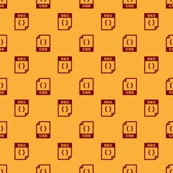 Red CSS file document icon. Download css button icon isolated seamless pattern on brown background. CSS file symbol. Vector Illustration