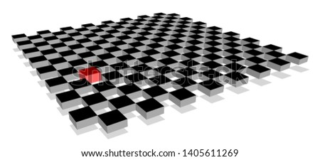 Red cube standing out from crowd of plenty identical fellows on 3d checkerboard plane. Leadership, uniqueness, independence, initiative, strategy, think different, business success concept.
