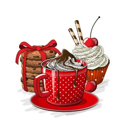 Red cup of coffe with cupcake with crean and cherry, and stack of brown coookies on white background, vector illustration, eps 10 with transparency