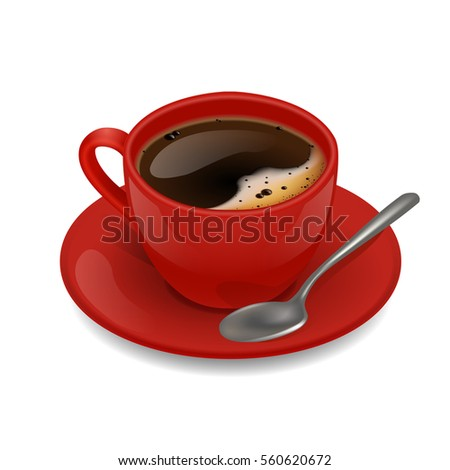 Red cup of coffee. Vector clip art illustration.