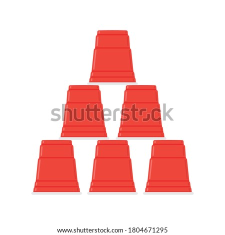 Red Cups. Beer Pong Cup Beer Game. Drinking Cup, Stack of Red Cup, Plastic Cups Vector Illustration Background