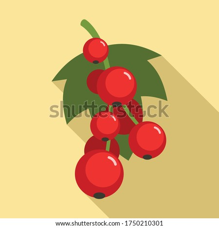 red currant berries icon flat