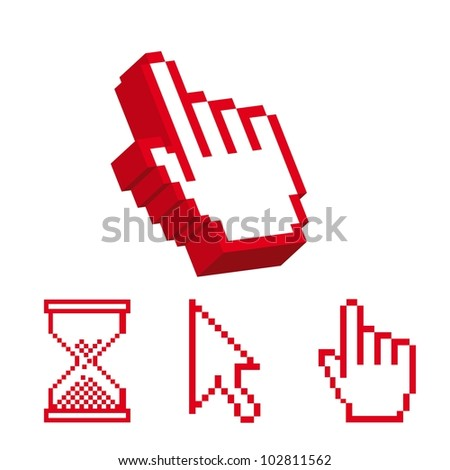 red cursor and 3d cursor hands isolated over white background. vector