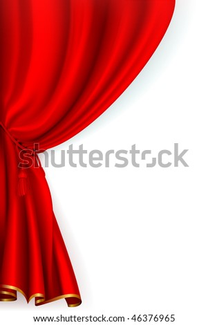 Red Curtain, mesh - stock vector