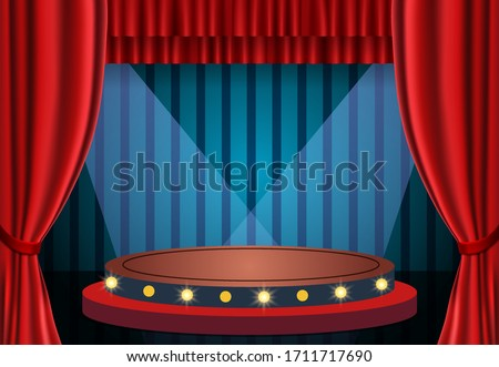 Red curtain on blue vintage background and podium. Design for presentation, concert, show. Vector illustration Сток-фото ©