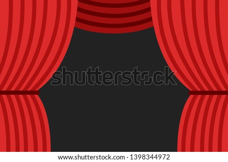 Red curtain on stage in theatre is opening - beginning and start of theatrical play, film, movie and art performance. Ceremonial before entertainment. Vector illustration