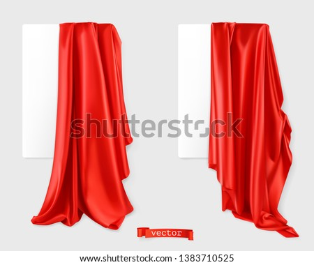 Red curtain vectorized image. Drapery fabric. 3d realistic vector