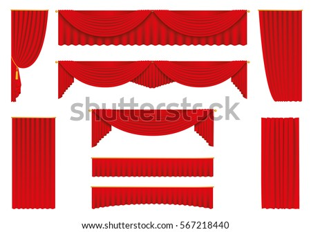 red curtains  realistic set