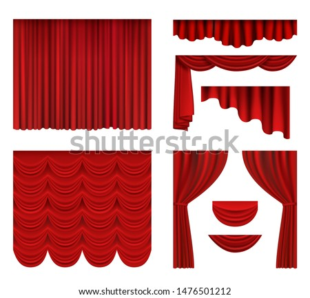 Red curtains. Theater fabric silk decoration for movie cinema or opera hall luxury curtains vector realistic. Illustration drapery red, opera and movie fabric interior