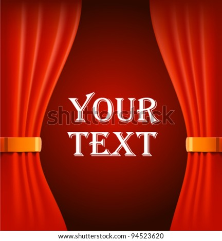 Red curtains with sample text vector illustration