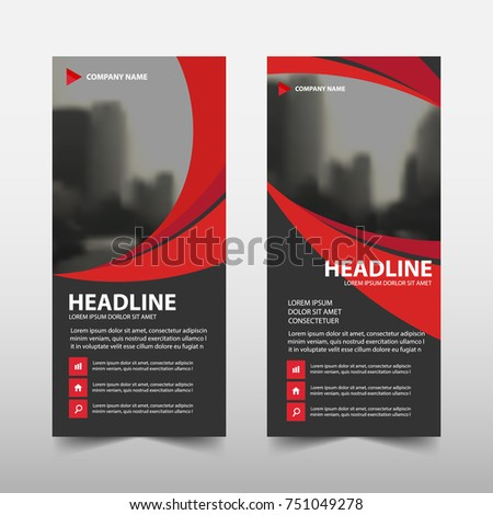 Red curve roll up business brochure flyer banner design , cover presentation abstract geometric background, modern publication x-banner and flag-banner, layout in rectangle size.