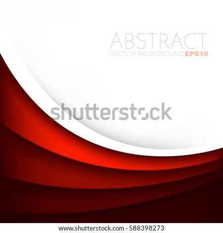 Red curve vector background overlap white layer and space for text and message artwork design