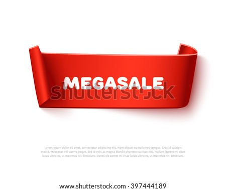 Red curved curl paper ribbon banner with paper rolls and inscription MegaSALE isolated on white background. Realistic vector paper ribbon template with shadow for promo and sale advertising.