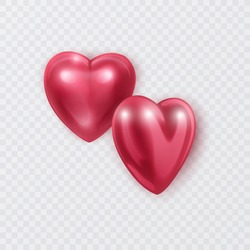 Red 3d hearts of pink color Valentines Day love symbol, happy celebration romantic greeting decoration realistic heart isoleted on white background vector eps 10 format