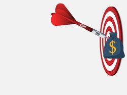 Red dart arrow hit the center target of dartboard and money metaphor marketing or saving money concept, on wood background
