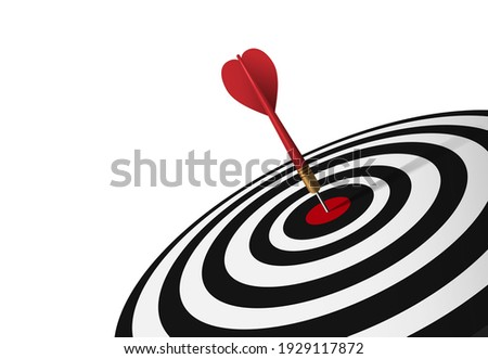 Red dart hit to center of dartboard. Arrow on bullseye in target. Business success, investment goal, opportunity challenge, aim strategy, achievement focus concept. 3d realistic vector illustration Stock photo ©