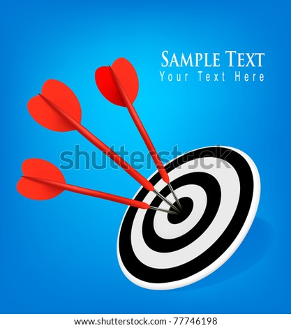 Red darts hitting a target. Success concept. Vector illustration