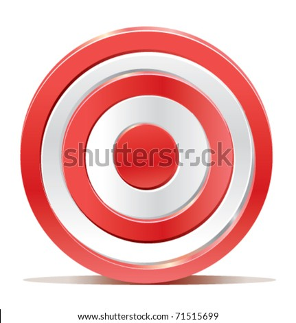 Red darts target aim on white background. Created without transparencies. Only gradients.
