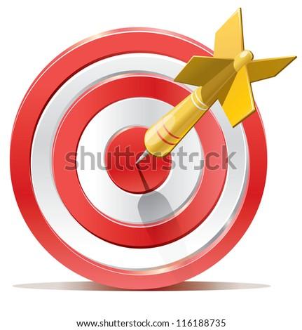 Red darts target aim. Successful shoot. Vector illustration