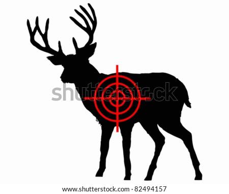 Red deer crosshair - stock vector