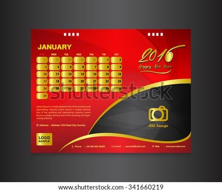 red desk calendar 2016 template vector design template