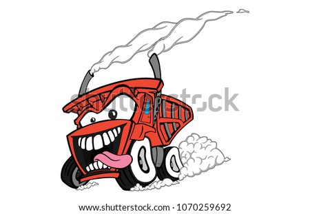 Red devil dump truck burning rubber and racing the roadways to each dump spot!