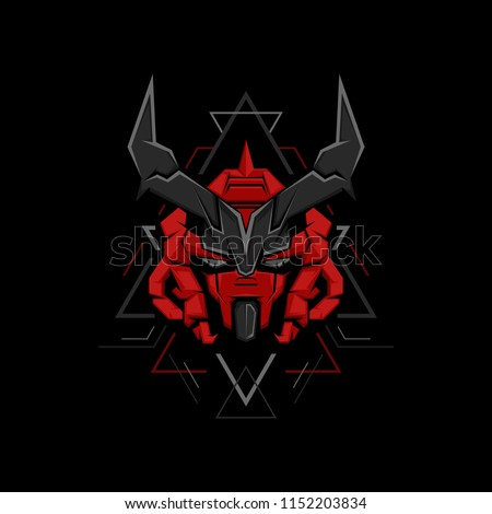 red devil gundam geometric style