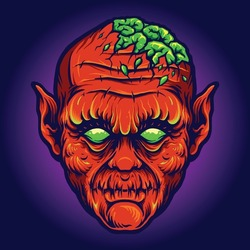 Red Devil Out Brains Creepy Vector illustrations for your work Logo, mascot merchandise t-shirt, stickers and Label designs, poster, greeting cards advertising business company or brands.