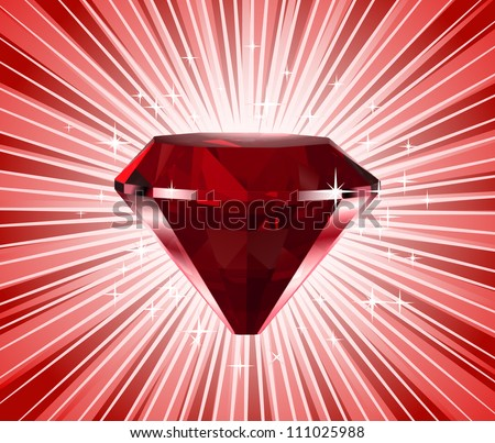 Red diamond. Vector shine background