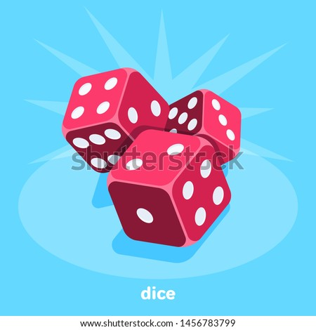 red dice on a blue background, isometric image, gambling for everyone Photo stock ©