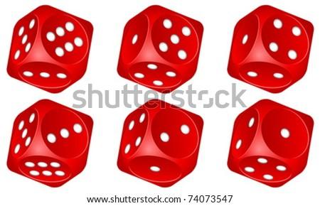 Red dice set on white background. Vector illustration.