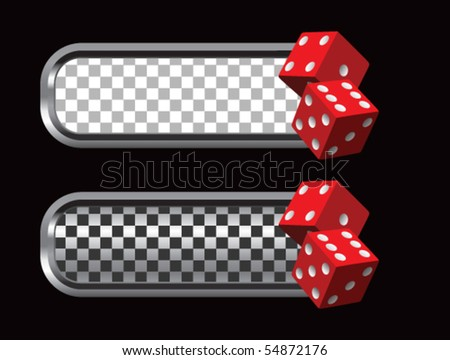 red dice silver and black checkered tabs - stock vector