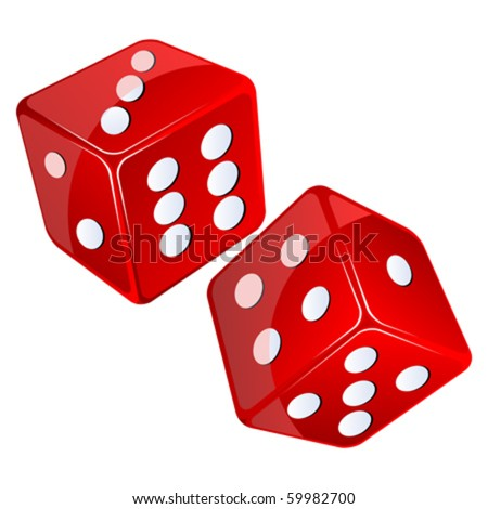 red dices, isolated objects against white background