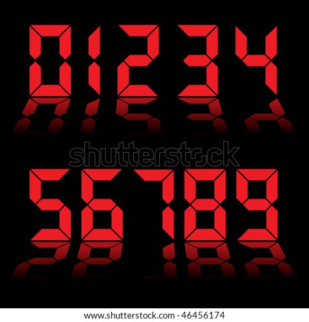 Red digital clock readout with numbers reflected in black background - stock vector
