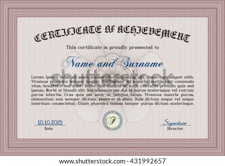 Red Diploma. Border, frame. Excellent design. With background.