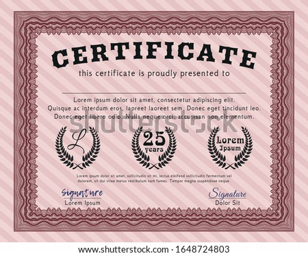 Red Diploma or certificate template. Printer friendly. Customizable, Easy to edit and change colors. Cordial design.