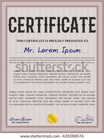 Red Diploma or certificate template. With complex background. Vector illustration. Lovely design.