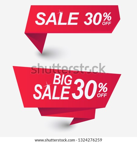 Red Discount banner template design. Price tag, Premium quality, sale. Special offer badges and vector labels #1324276259