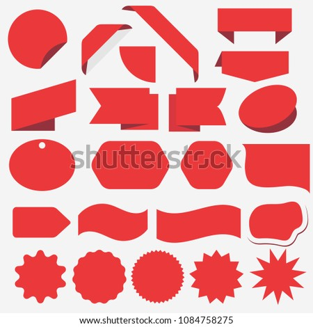 Red Discount sticker set. Advertising, sale banner for web store. Promotional corner located element. Product stickers with offer. Vector #1084758275