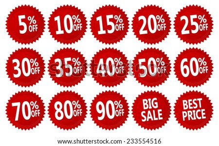red discount stickers set. vector collection, you can simply change color and size